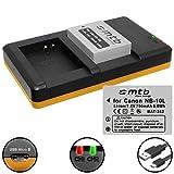 2 Batteries + Double Chargeur (USB) pour NB-10L / Canon PowerShot G15, G16, G1 X, G3 X, SX40 HS, SX50 HS, SX60 HS (Cable Micro-USB inclus)