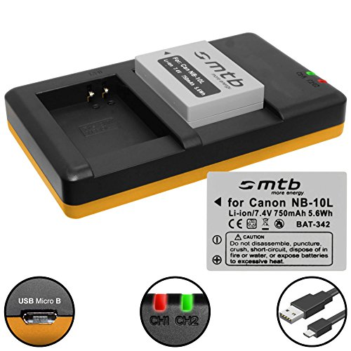 2 Batterie + Caricabatteria doppio (USB) per NB-10L / Canon PowerShot G15, G16, G1 X, G3 X, SX40 HS, SX50 HS, SX60 HS (Cavo USB micro incluso)