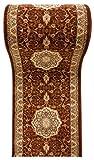 WE LOVE RUGS CARPETO Läufer Teppich Flur in Braun Beige - Orientalisch Muster - 3D-Effekt Dichter und Dicker Flor - Läuferteppich nach Maß - ISKANDER Kollektion 90 x 625 cm