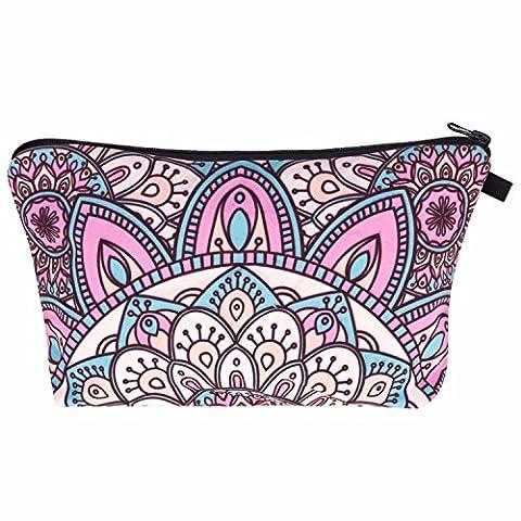 Kukubird Unicorn Emoji Flamingo Animals Make Up Bag Wash Bag Toiletry Cosmetics Wallet Pencil Pen Holder Organiser Pouch Case - Mandala Turquoise Pink