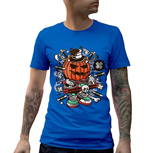 C089MCNTRB Herren T-Shirt DJ Halloween Music Disco Club Food Retro Party Funny Stereo Disc Jokey Mono Jack Classic(Large,Royal Blue)