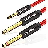 LinkinPerk Câble Audio Jack 3.5mm vers Double 6.35mm, 2 x 6.35 Mâle vers 3.5 Mâle Mono Câble Y Splitter Pour Téléphone,Tablet