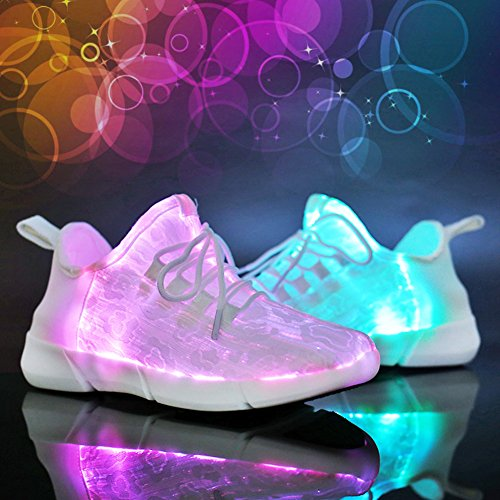 Chaussures LED Garçon Fille Flashing Chaussures Baskets LED Homme Femme, 11 modes clignotants Chaussures USB Rechargeable,Fr 27- 44 Blanc