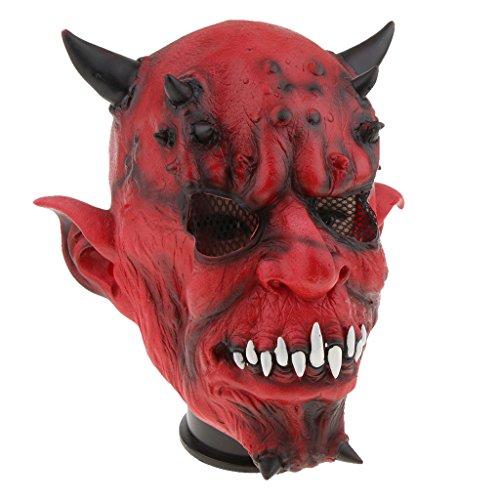 Baoblaze Horrormaske Clown Hexe und Zombie Latex Maske Halloween Cosplay und Karneval Kostüm Accessoires, Eine Größe für alle Menschen, Bequem und Atmungsaktiv - Hölle Nacht Gabel
