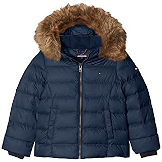 Tommy Hilfiger Girl's AME THKG DG BASIC DOWN JACKET Straight Leg Long Sleeve Jacket, Blue (Navy Blazer), 128 (Manufacturer Size: 8 year)