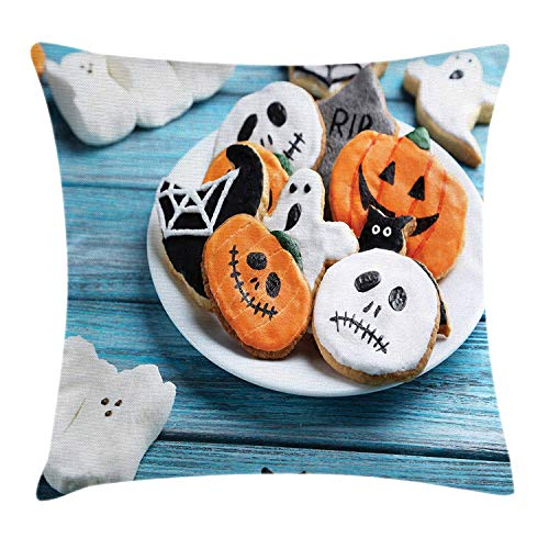 ZMYGH Halloween Throw Pillow Cushion Cover, Funny Fresh Halloween Gingerbread Cookies and Holiday Desserts on Wooden Table, Decorative Square Accent Pillow Case, 18 X 18 Inches, Multicolor (Halloween Cupcakes Nyc)