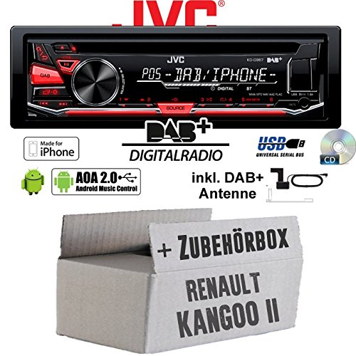 JVC KD-DB67 - DAB+ USB Autoradio inkl. DAB+ Digitalradio Antenne - Einbauset für Renault Kangoo 2 - JUST SOUND best choice for caraudio
