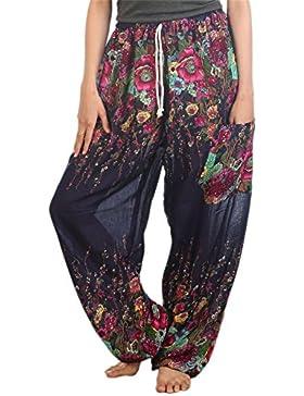 Lofbaz Pantaloni Coulisse da Donna Harem boemo bohemien Casual Aladdin