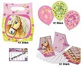 Charming Horses Pferde Partyset 12 Mitgebsel-Tüten + 12 Luftballons + 12 Einladungen mit Umschlägen