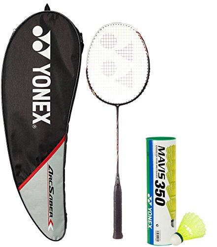 Yonex Arcsaber 100 THL & Mavis 350 Combo (Arcsaber 100 THL Taufic Hidayat Special Edition Badminton Racquet,Black + Mavis 350 Pack of 6 Shuttlecock)  available at amazon for Rs.3694