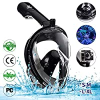 infinitoo Diving Mask Full Face Mask Snorkeling Mask with 180° Field of View and Camera Stand | Silicone Seal Anti-fog, Anti-leak and Waterproof for children and adults, L-XL, Black