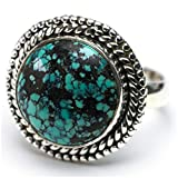 StarGems(tm) Natural Turquoise Unique Design 925 Sterling Silver Ring US Size 7.75 N802