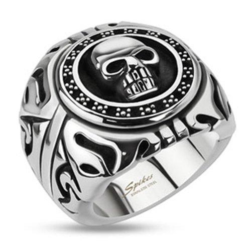BlackAmazement Damen, Herren Totenkopf Ring Shield Skull Edelstahl Massiv Biker Gothic