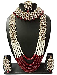 Apsara Art Jewellery (Rakhi Special Free Gift) Traditional Kundan Necklace Set With Red And Off White Pearl &...