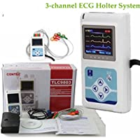 OUKANING ECG EKG Holter Analyzer 3-channel 24 horas Monitor System +LCD Recorder Equip laboratorio