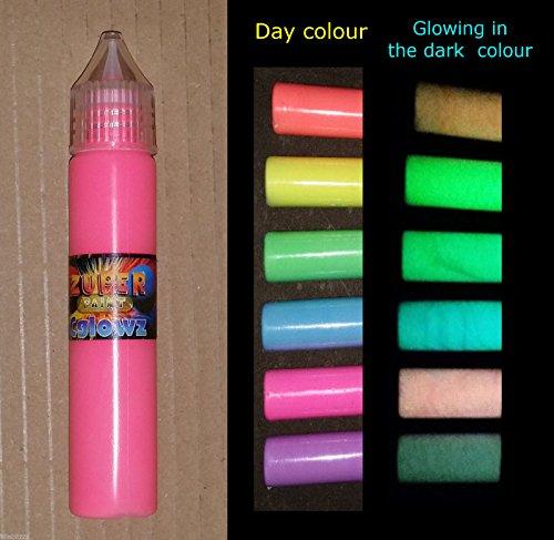 cglowz Tag Neon UV Reactive fluoreszierend Glow in the Dark Farbe-30ml Pen blau (Glow In Dark Stifte The)