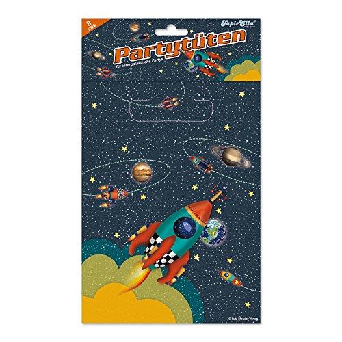 8 Partytüten * RAKETE * für Party und Geburtstag // Kindergeburtstag Kinder Set Tüten Geschenktüten Mitgebsel Weltraum Space All Astronaut