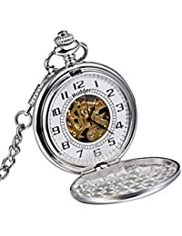 Mudder Classic superficie lisa plata mecánico reloj de bolsillo con cadena