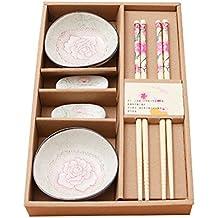 yookoon 6piezas Juego de mesa Ware cubertería pequeño plato de estilo chino palillos de bambú palillos de madera para casa de regalo regalos