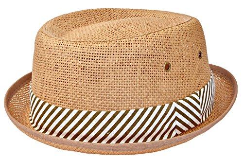Porkpie Sonnenhut Strandhut Strohhut Unisex mit gestreiftem Band (57 cm, braun) (Stroh-hüte Für Männer)