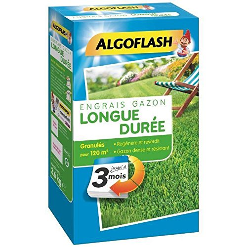 ALGOFLASH Engrais Gazon Longue Durée 3 Mois 3 Kg Bleu 18.3 x 9.4 x 32 cm