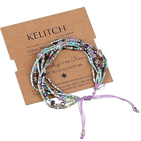 KELITCH Cristal Violet Agate Perles de Rocaille Cluster Multi-strand Bracelet Corde - Violet
