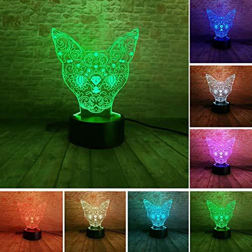 chen Kopf Deer LED 7 Farbwechsel Tabby Katze Tisch Illusion Licht Rakete Schlafzimmer Familie Party Dekoration Geschenk Nachtlicht ()