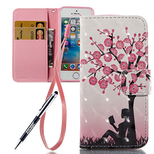 Custodia iPhone 5S, Cover iPhone 5, iPhone SE Custodia Pelle Portafoglio, JAWSEU Arts 3D Modello Libro Disegno [Shock-Absorption] PU Leather Wallet Pelle Portafoglio Custodia per iPhone 5 5S SE Cover  Albero di fiori rosa