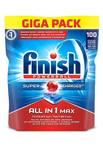 Finish Tutto in Uno Max Detergente 100 Tabs, Regular, 1860 gr