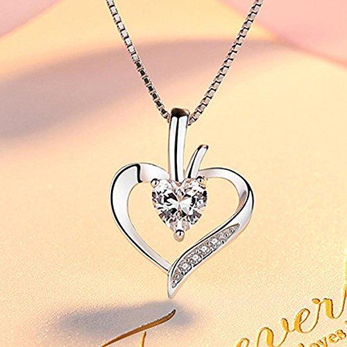 Axiba Cadena Simple clavícula del S925 Plata Collar Corazón con Incrustaciones de Micro Femenino Colgante Joyas El Regalo Más Hermoso