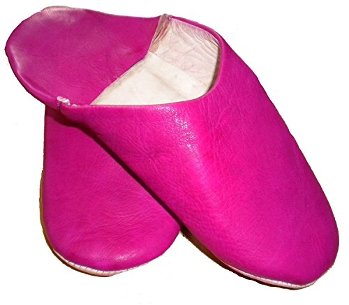 Terrapin Trading Commerce Équitable Marocaine Chaussons/Babouche/Mocassins 100% Cuir Traditionnelle Marocaine Rose / Fusia