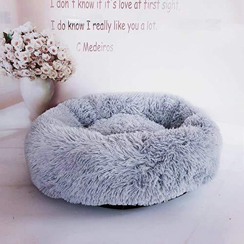 Loopunk Rond en Peluche pour Animal Domestique Nest Deep Sleep Pet Matelas épais Chaud Chien Lit Litière pour Chat Convient pour Chiots Chaton Petits Animaux(White 80CM)