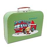 Kinderkoffer Pappe 45 cm hellgrün mit Feuerwehr, Feuerwehrmann und Wunschname, Malkoffer Spielkoffer Puppenkoffer Pappkoffer