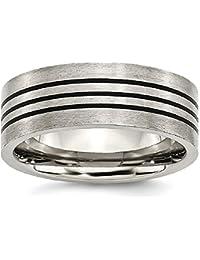 ICE CARATS Titanium Enameled Flat 8mm Wedding Ring Band Fashion Jewelry Gift Set For Women Heart