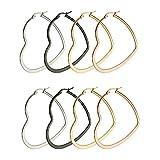 Aooaz 3Paire(6Pcs) Cœur acier inoxydable Hoop Boucles d'oreilles Dangling pour femme 50MM gothique Boucles d'oreilles