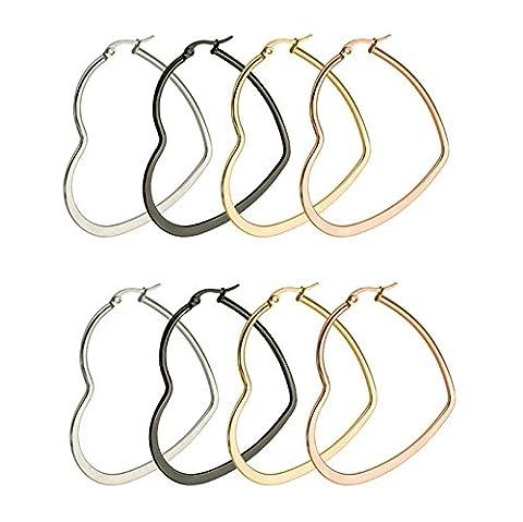 Aooaz 3Paire(6Pcs) Cœur acier inoxydable Hoop Boucles d'oreilles Dangling pour