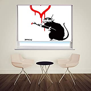 BANKSY LOVE RAT PRINTED GRAFFITI ART Printed Picture Photo Roller Blind - Custom Made Printed Window Blind
