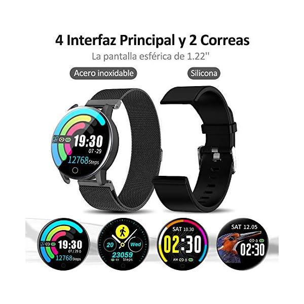 NAIXUES Smartwatch, Reloj Inteligente IP67 con Presión Arterial, 10 Modos de Deporte, Pulsómetro, Monitor de Sueño, Notificaciones Inteligentes, Smartwatch Hombre Mujer para iOS y Android (Negro) 2