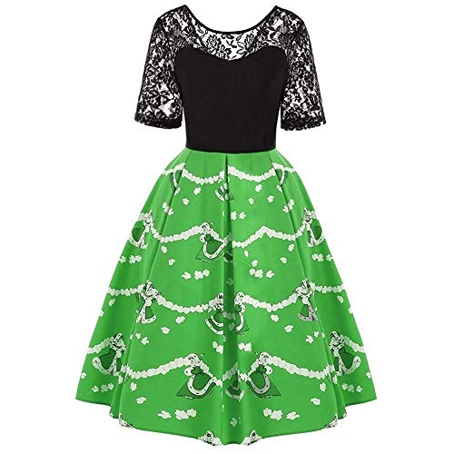 Kleid Weihnachten Damen Vintage Rockabilly Spitzenkleid Cocktailkleid Ballkleid Knielang Partykleid Swing Kleid von Sunday