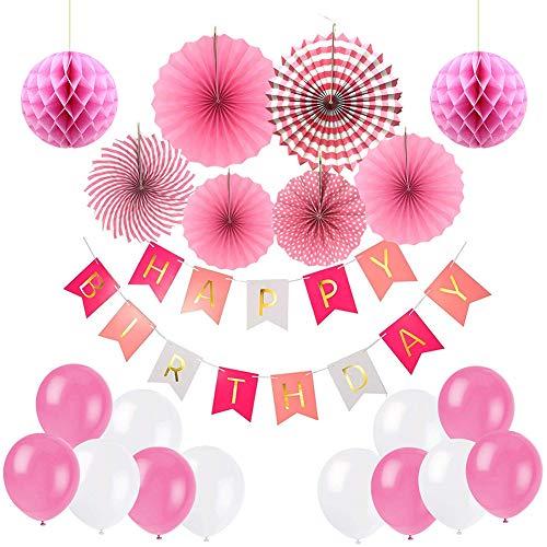 (Ciaoed Geburtstagsdeko Geburtstag Party Dekorationen Set für Mädche Jungen Happy Birthday Banner Girlande mit Luftballons Latexballons und Wabenbälle Papier Rosa(pink))