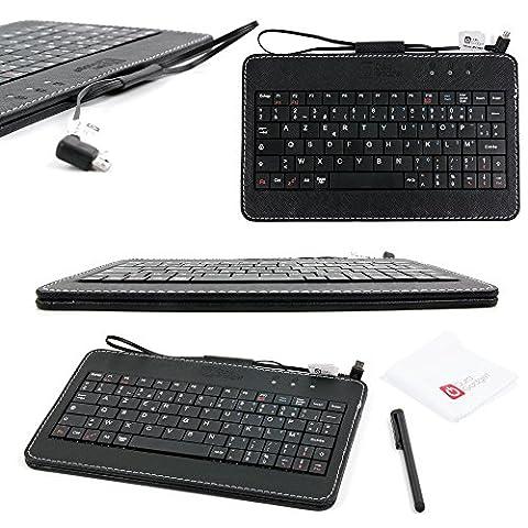 Clavier AZERTY noir pour téléphone Huawei Honor Y635, Y360, P8 et P8max - connexion micro USB - stylet tactile et chiffon microfibre inclus - DURAGADGET