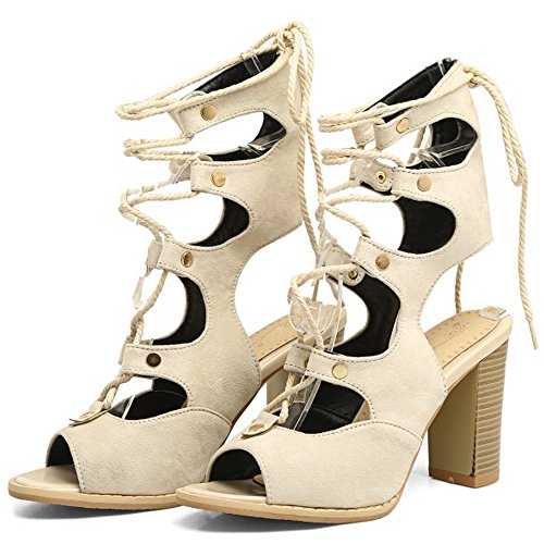 COOLCEPT Damen Mode-Event Party Shoes Lace up Half Bootie Sandalen Blockabsatz Hohe Ferses Beige