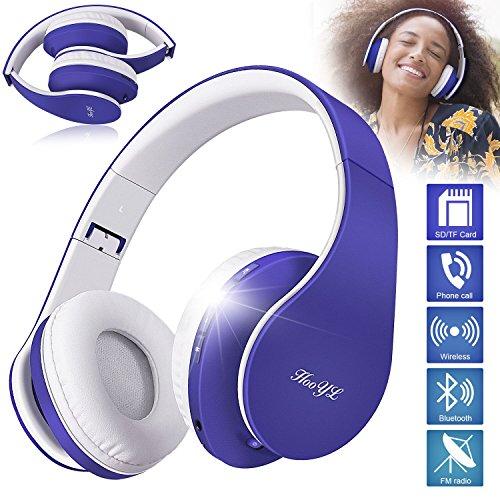 HooYL Kabelloser Faltbarer On-Ear Bluetooth Kopfhörer mit Integrierter Musiksteuerung und Mikrofon Freisprecheinrichtung Kompatibel mit Apple und Android Geräten (Blau) (Wireless Ipod)