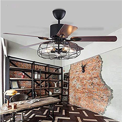 Moerun ventilador de techo vintage de 52 pulgadas con luces industriales, lámpara de control remoto, lámpara de iluminación reversible, bombillas de motor silencioso requeridas