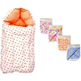 Baby Fly New Born Baby Combo Pack Of 1 Orange Heart And White Print Sleeping Bag/Carry Bag And 4 Plastic Diaper/Nappy Changing Sheets