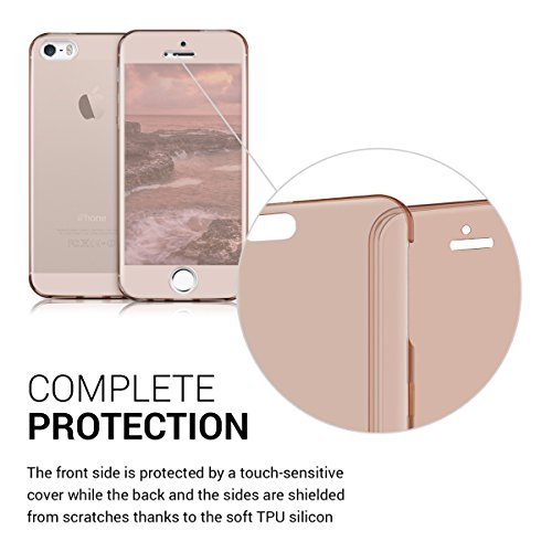kwmobile Hülle für Apple iPhone SE / 5 / 5S - Full Body TPU Silikon Crystal Case Transparent - Komplett Schutzhülle Cover in Transparent .Rosegold
