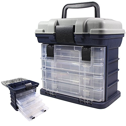 Angelkoffer Angeln Grätekoffer mit 4 Aufbewarhungsbox für Angelzubehör