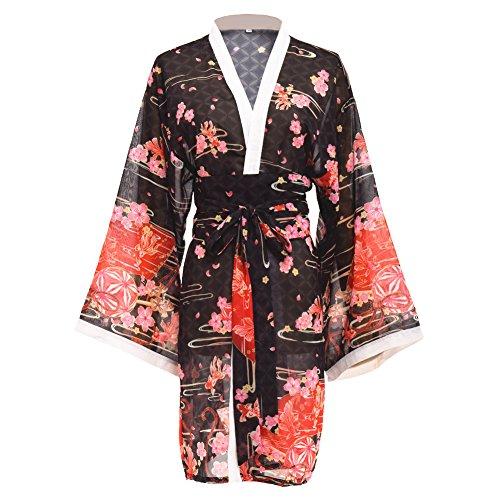 (Double Villages Japanischen Stil Kimono Bademantel Kleid Anime Cosplay Yukata Serie Japanischen Sommer Nette Mädchen Anime Cosplay Kostüme (Blau) (Schwarz, S))