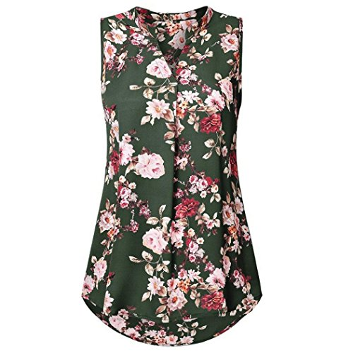 Sanfashion bekleidung camicia - con bottoni - tinta unita - collo a v - senza maniche - donna verde 40 eu