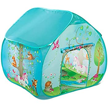 Childrens Pop Up Play Tent Designed like an Enchanted Forest with a Unique Printed Play Floor  Girls Toy Play Tent / Playhouse / Den by Pop It Up  sc 1 st  Amazon UK & KiddyPlay Deluxe Pink Pop-Up Castle Play Tent: Amazon.co.uk: Toys ...